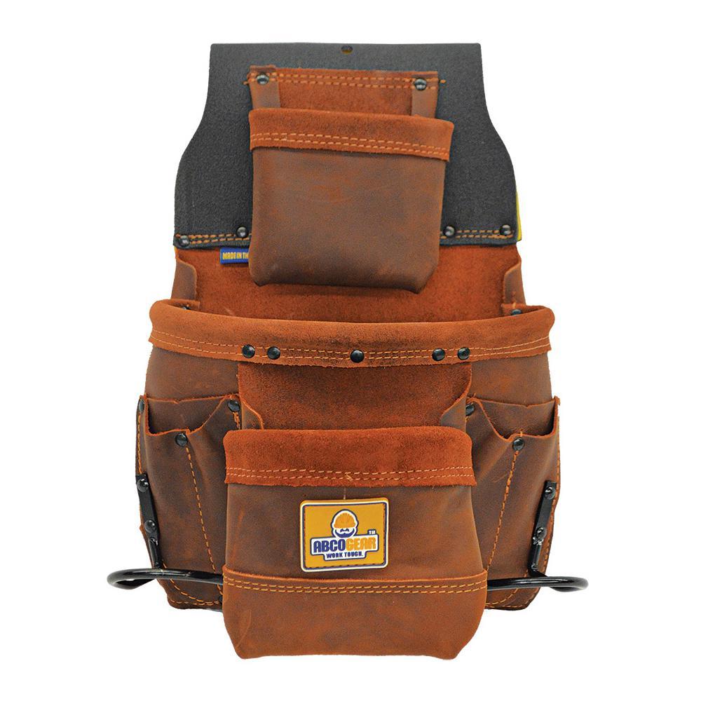11 in. 9-Pocket Elite Series Leather Tool Bag in Brown
