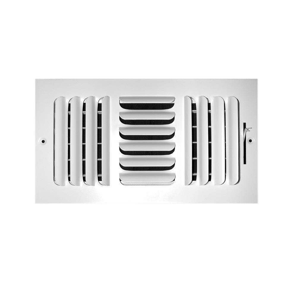 TruAire 8 in. x 6 in. 3-Way Fixed Curved Blade Wall/Ceiling Register
