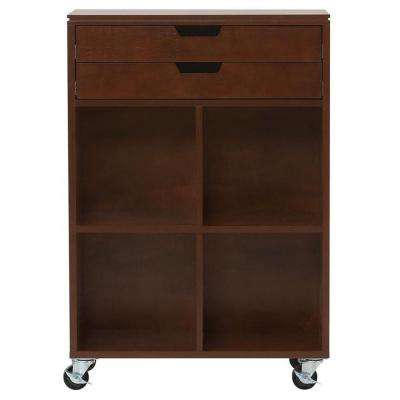 Avery 4-Cube MDF Mobile Cart in Chestnut