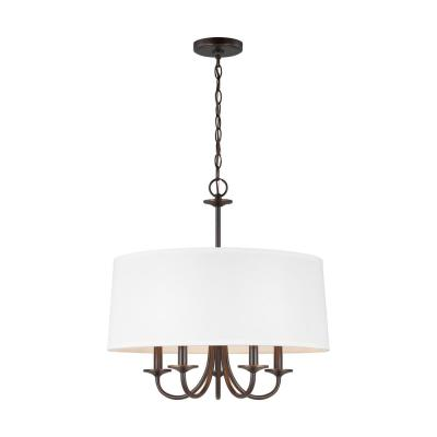 Seville 21.5 in. W 5-Light Burnt Sienna Bronze Chandelier with White Linen Shade with Dimmable Candelabra LED Bulb