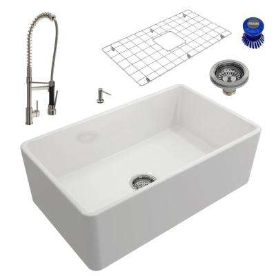 Classico All-in-One Farmhouse Fireclay 30 in. Single Bowl Kitchen Sink with Maggiore Brushed Nickel Faucet and Soap Disp