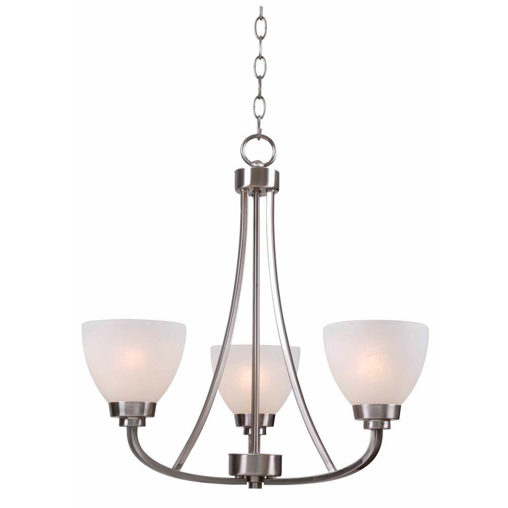 Hampton Bay Hastings 3-Light Brushed Steel Chandelier with White Glass Shades