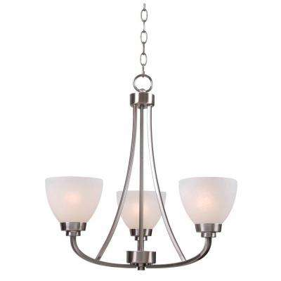 Hastings 3-Light Brushed Steel Chandelier with White Glass Shades