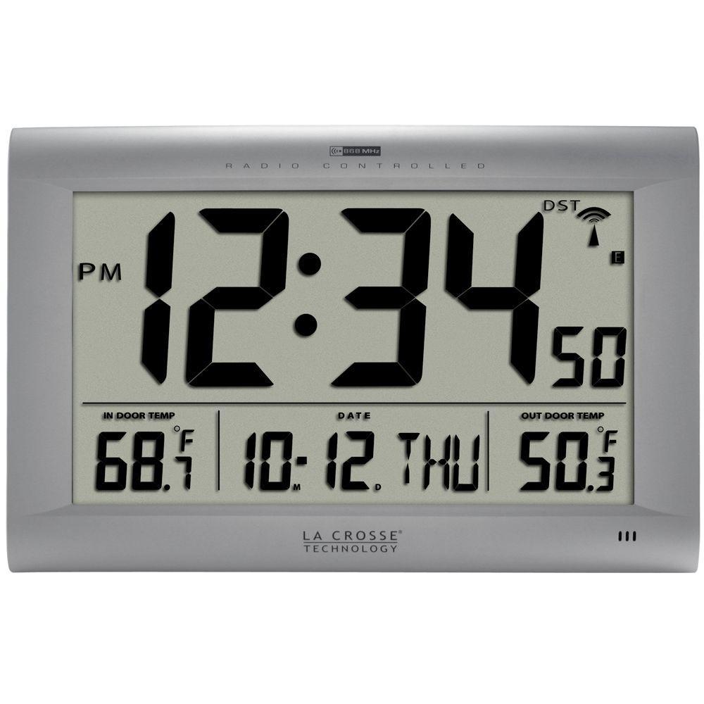 Jumbo Atomic Digital Wall Clock with Outdoor Temperature