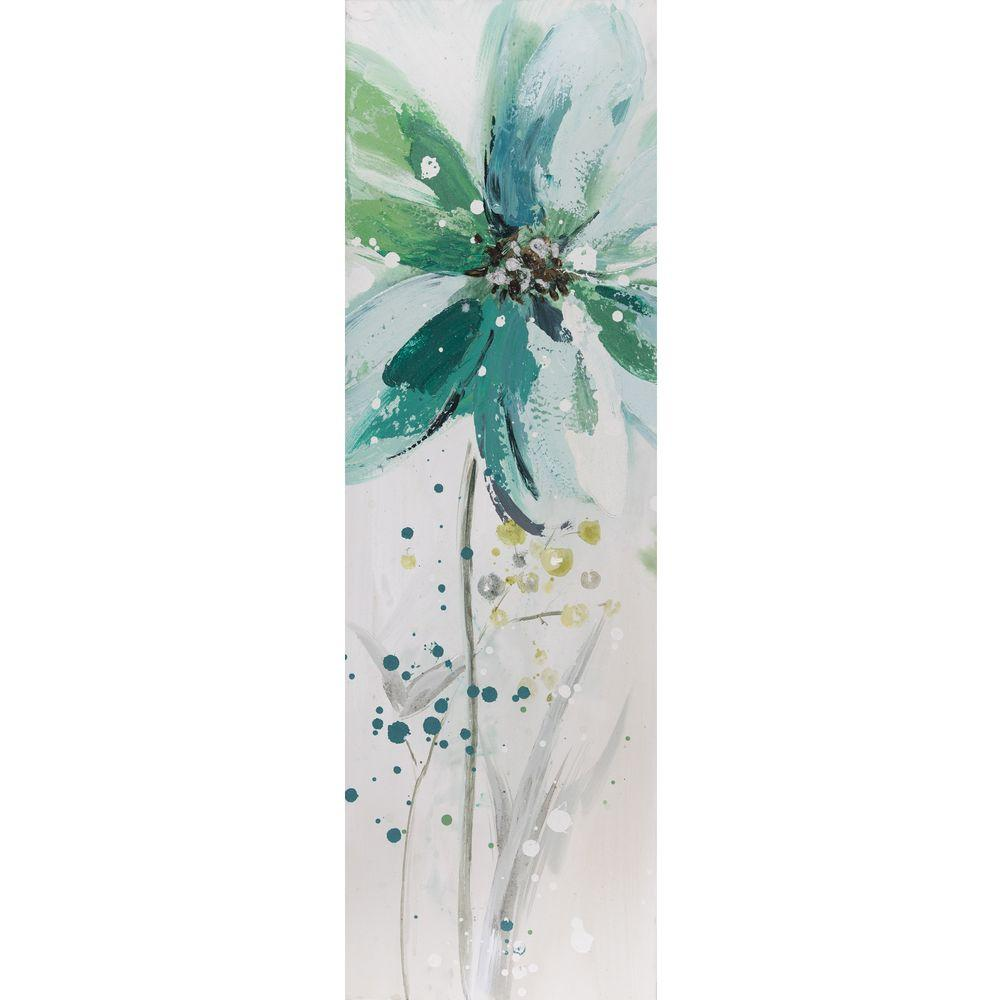 Yosemite Home Decor 12 in. x 35.5 in. Lime Flower II Hand Painted Contemporary Artwork