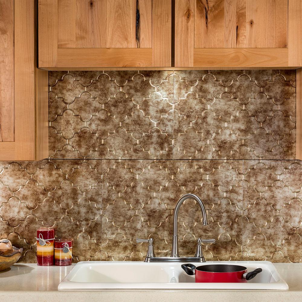 Decorative Wall Tiles Kitchen Backsplash: Fasade Monaco 18 In. X 24 In. Bermuda Bronze Vinyl