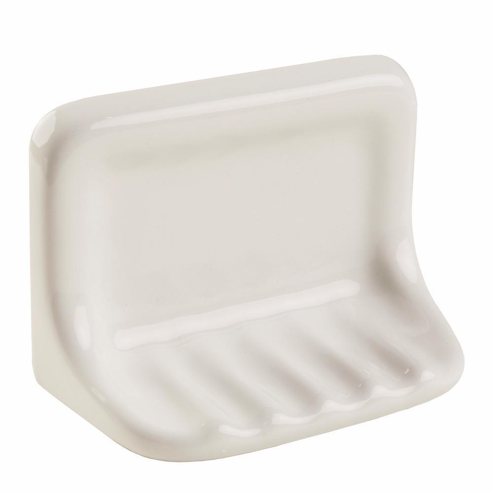 Bathroom Accessories White 4-3/4 in. x 6-3/8 in. Wall Mount Ceramic Soap Dish