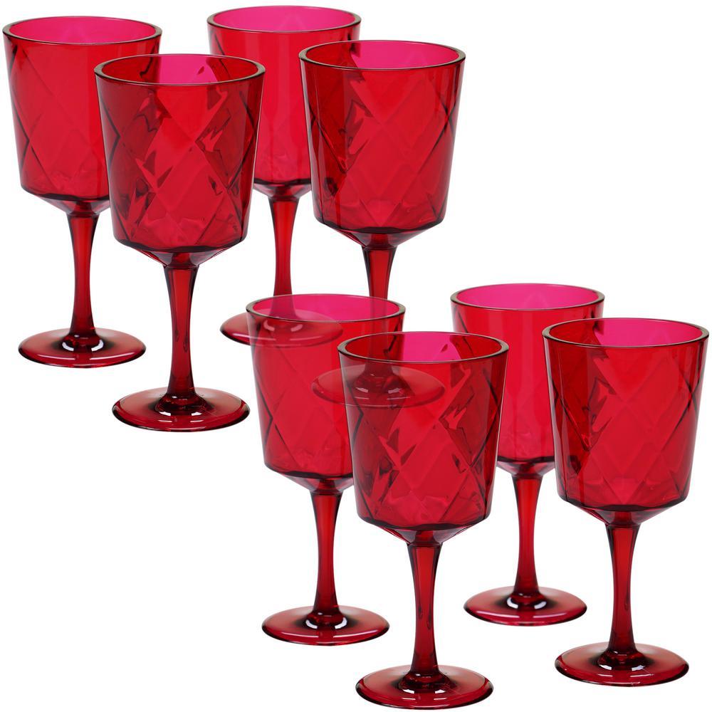 8-Piece 13 oz. Ruby Acrylic Goblet Glass
