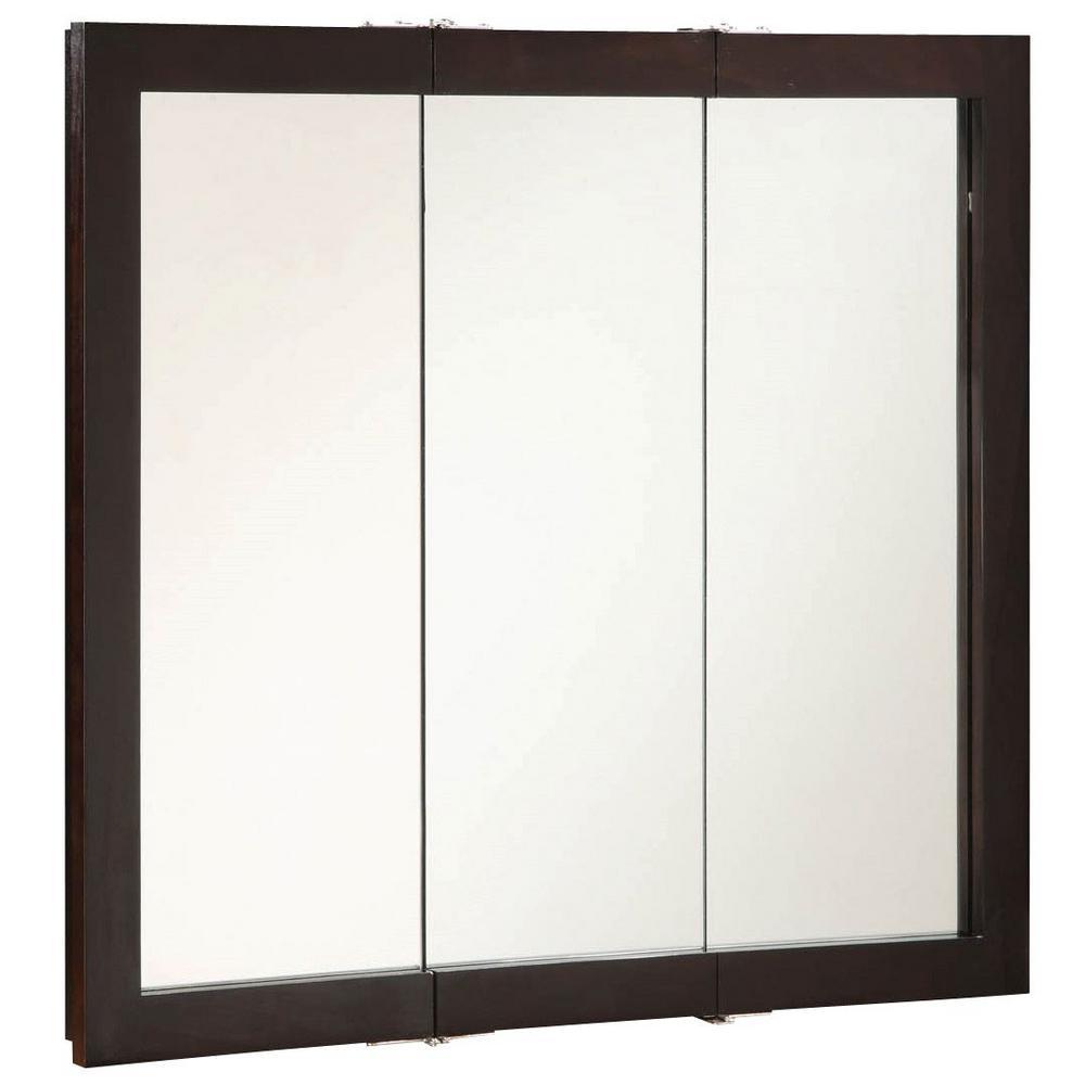 Design House Ventura 36 in. W x 30 in. H x 6 in. D Framed Tri-View Surface-Mount Bathroom Medicine Cabinet in Espresso