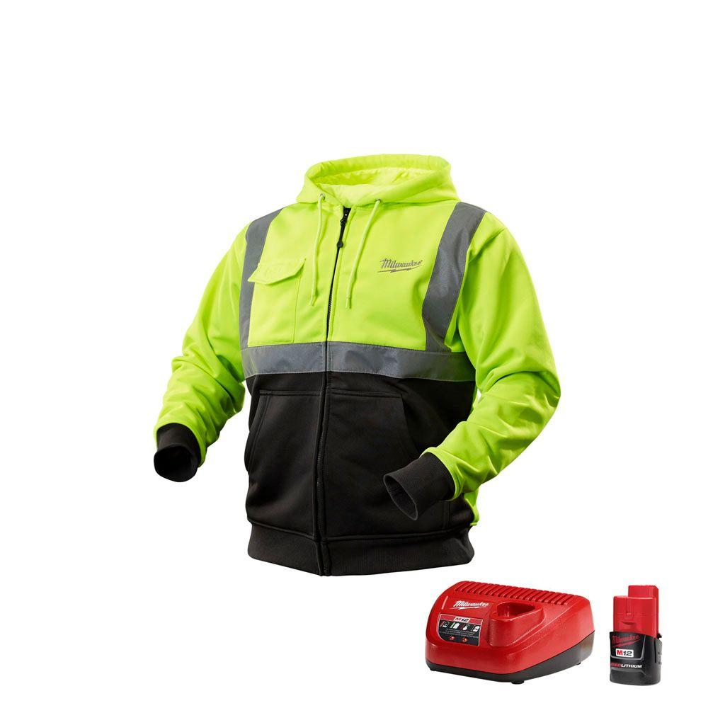 Milwaukee Small M12 Lithium-Ion Cordless High Visibility Heated Hoodie Kit