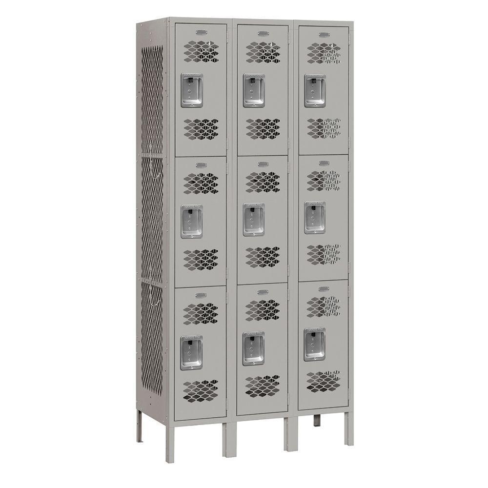 Salsbury Industries 73000 Series 36 in. W x 78 in. H x 12 in. D 9-Tier Vented Metal Locker Assembled in Gray