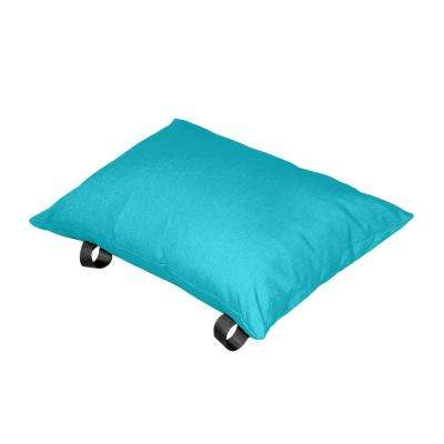 Polyester True Turquoise Solid Lumbar Outdoor Throw Pillow