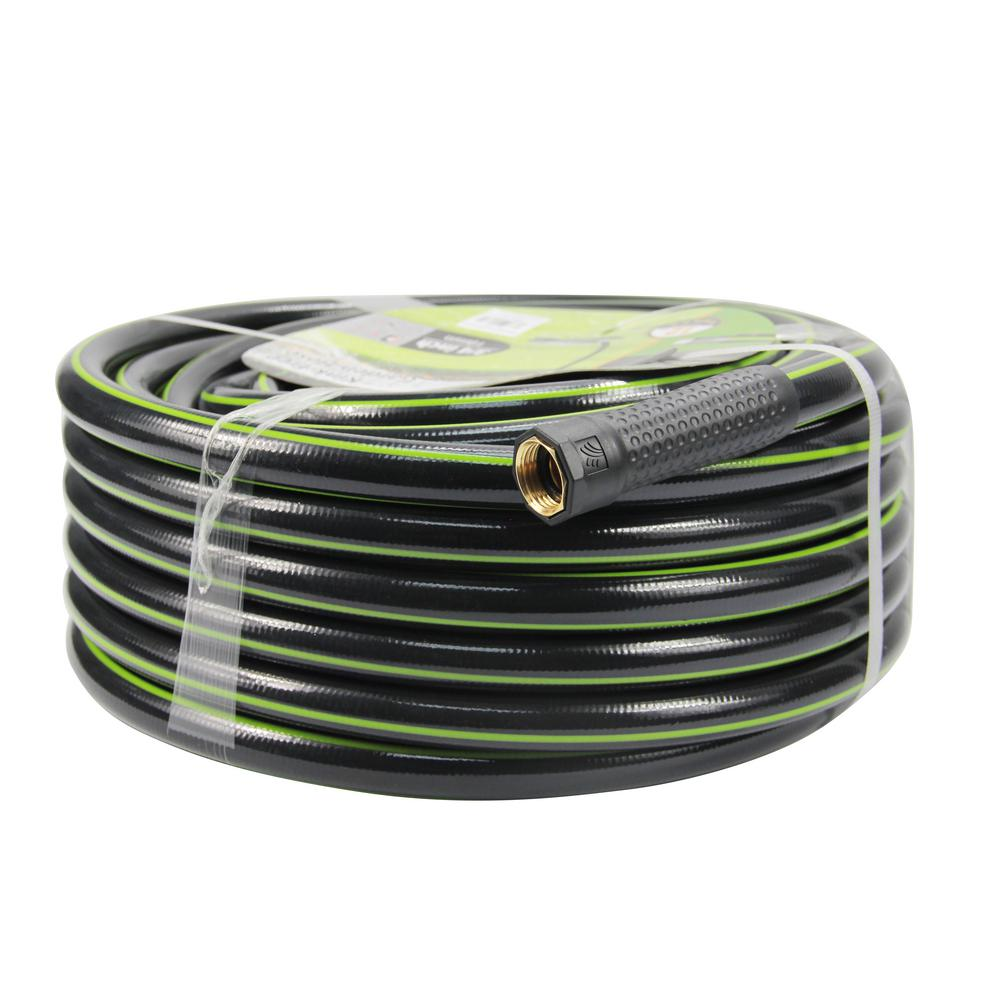 Worth Garden Kink Free 3/4 in. Dia x 75 ft. Heavy-Duty Garden Hose The 3/4 in. Dia x 75 ft. kink free garden hoes weights 13.5 lbs. It is made from lead free vinyl. The hose is black with a green stripe. It is a strong and useful add on to your gardening collections.