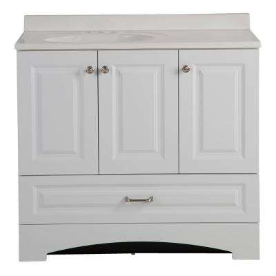Lancaster 36 in. W Side Drawer Vanity in White with Alpine Composite Vanity Top in White