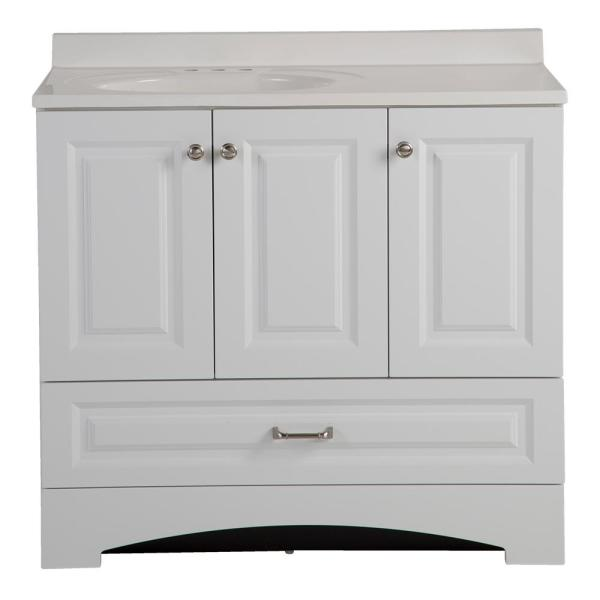 Lancaster 36 in. W Side Drawer Bath Vanity in White with Alpine Composite Vanity Top in White