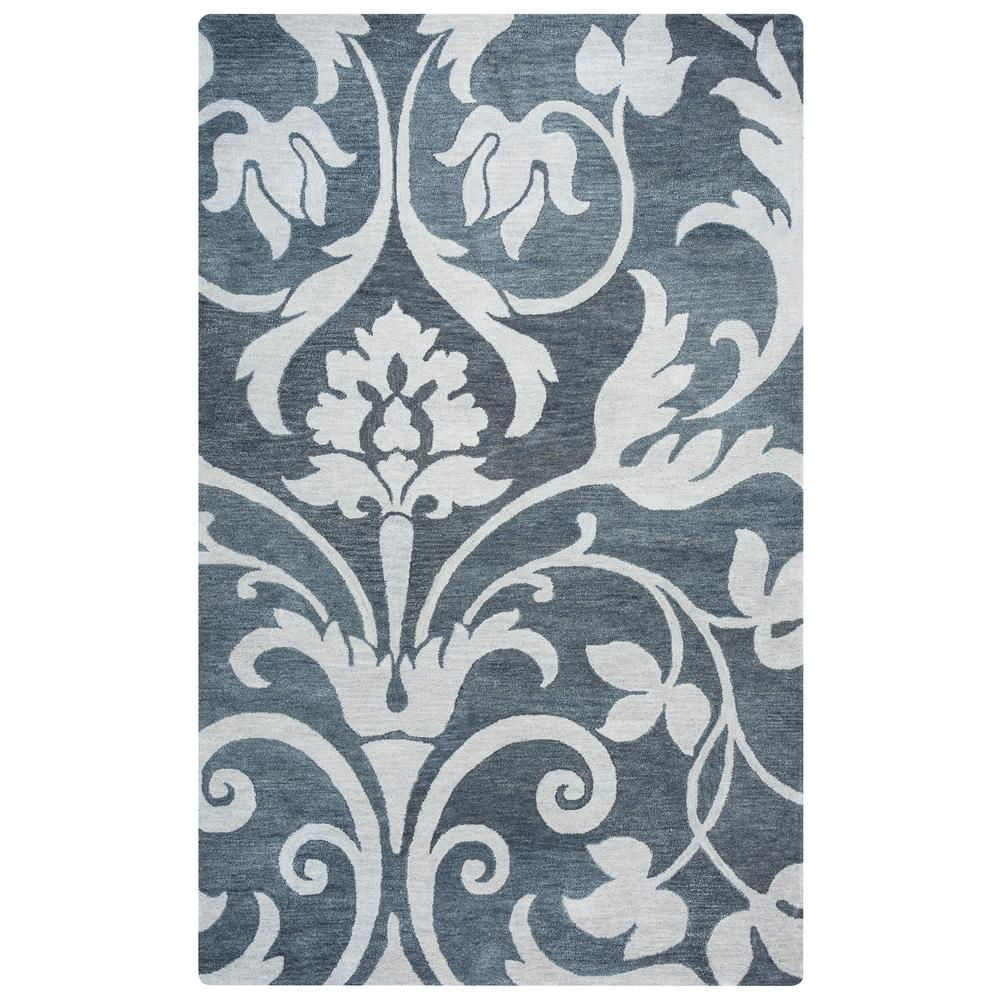 Rizzy Home Marianna Fields Gray Floral Hand Tufted Wool 8 Ft X 10