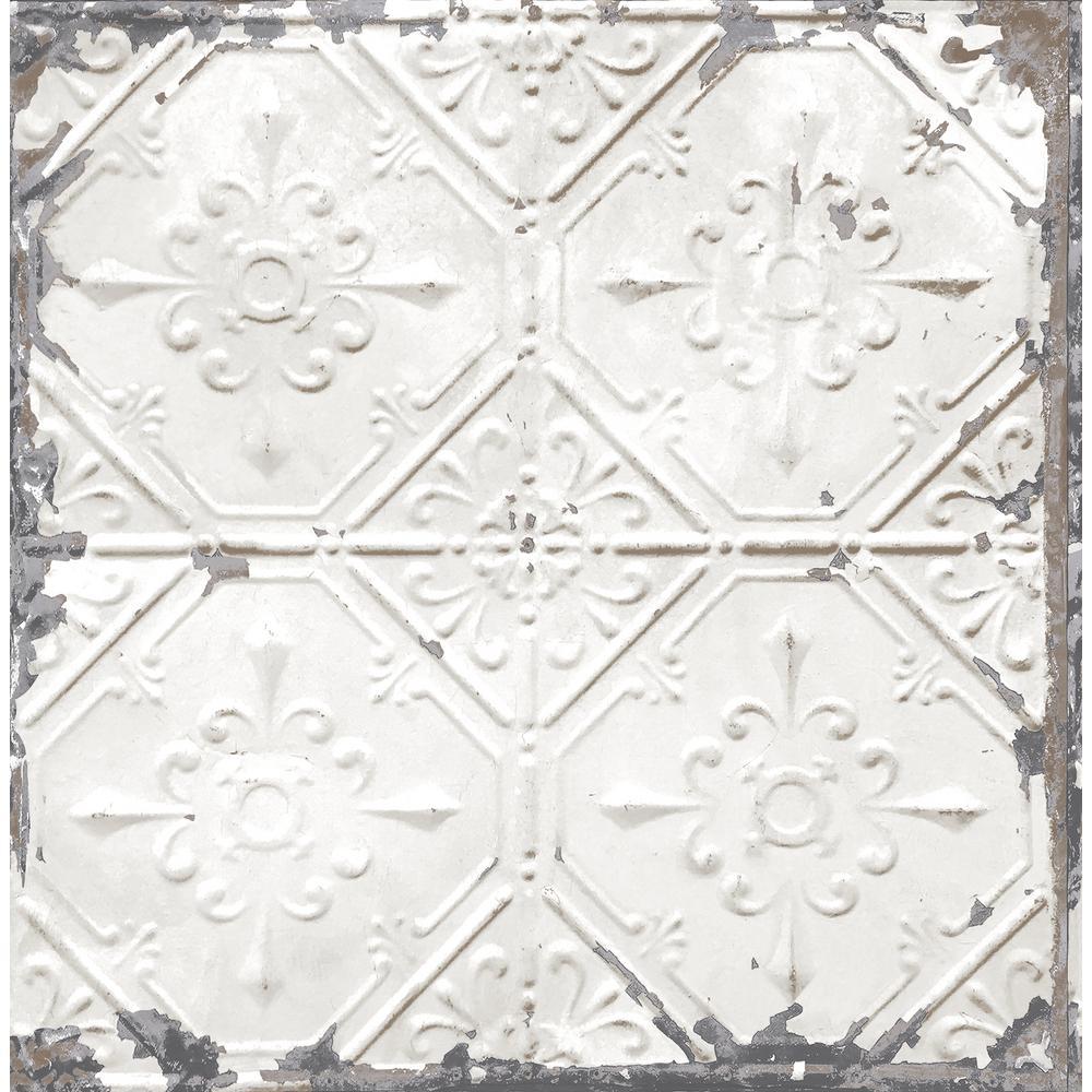 Donahue White Tin Ceiling Wallpaper Sample