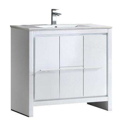 Allier 36 in. Bath Vanity in White with Ceramic Vanity Top in White with White Basin