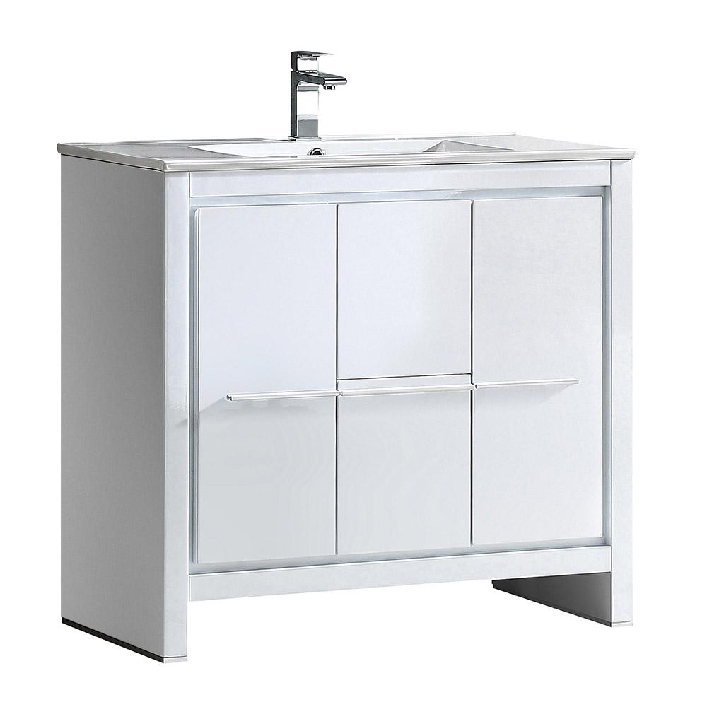 Allier 36 in. Bath Vanity in White with Ceramic Vanity Top