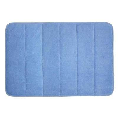 17 in. x 24 in. Smoke Blue Memory Foam Bath Mat
