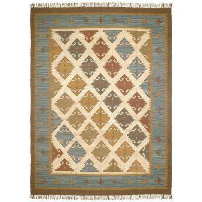 Blue-Grey Hacienda Wool 10 ft. x 14 ft. Area Rug