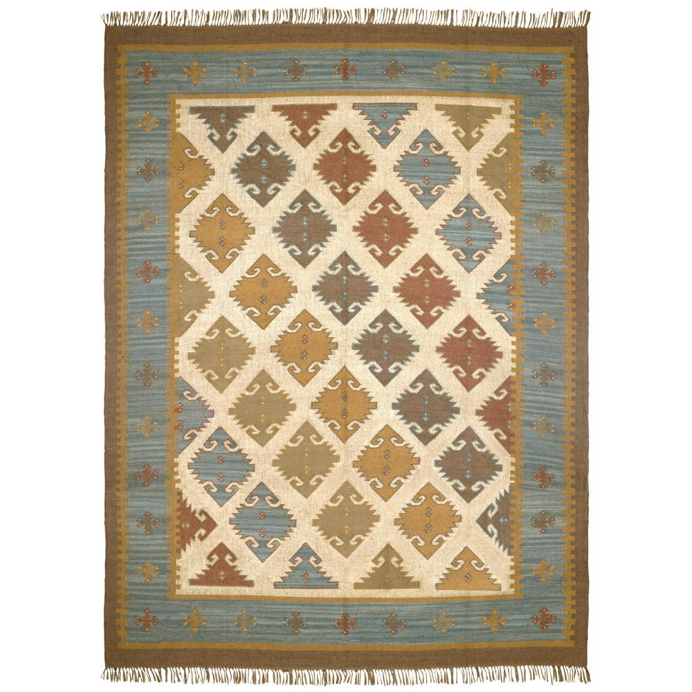 Blue-Grey Hacienda Wool 9 ft. x 12 ft. Area Rug