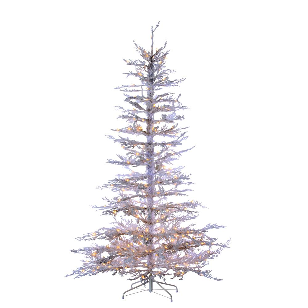 7.5\' Pre-Lit, Flocked White Twig Artificial Christmas Tree 300 Clear ...