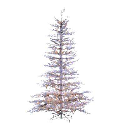 7.5 ft. Indoor Pre-Lit Flocked White Twig Artificial Christmas Tree with 300 UL Clear Lights and 339 Tips