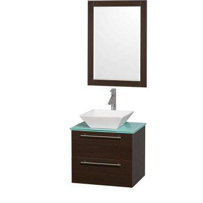 Amare 24 in. Vanity in Espresso with Glass Vanity Top in Aqua and Porcelain Sink