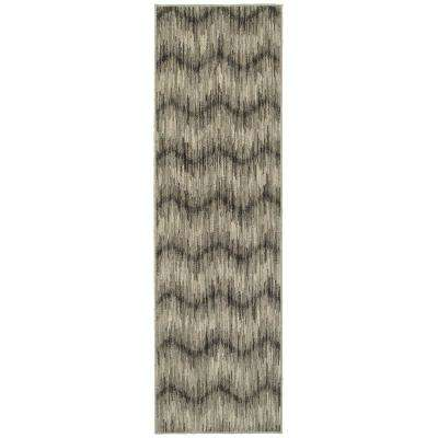 Monroe Beige/Charcoal 2 ft. x 8 ft. Runner Rug
