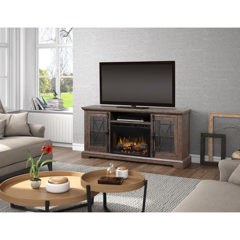 Dimplex Natalie 66 in. Freestanding Electric Fireplace TV Stand Media Console in Elm Brown