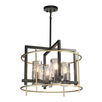 4-Light Oil Rubbed Bronze and Satin Brass Chandelier