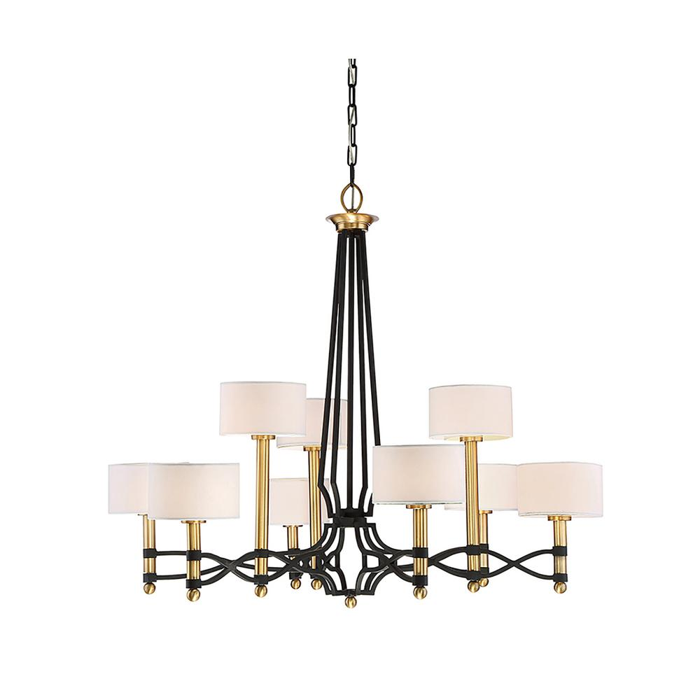 filament design 9 light carbon chandelier with white fabric shade cli sh265587 the home depot. Black Bedroom Furniture Sets. Home Design Ideas