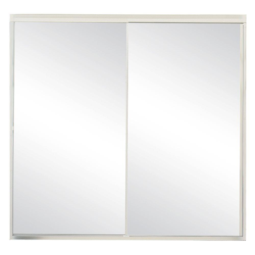 Contractors Wardrobe Model 500 59 in. x 57 in. Framed Sliding Tub Door in Satin Clear with Clear Glass and Color-Matched Handle