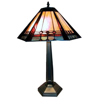 25 in. Mission Style Multicolored Brass Table Lamp