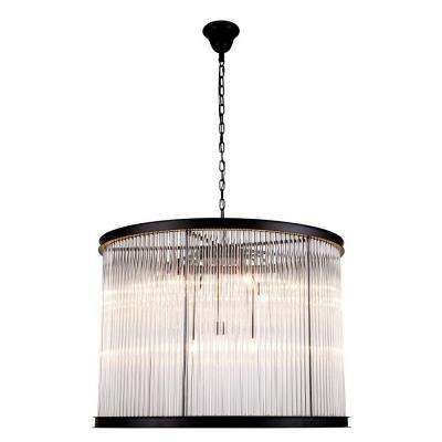 Royale 9-Light Mocha Brown Glass Crystal Clear Pendant