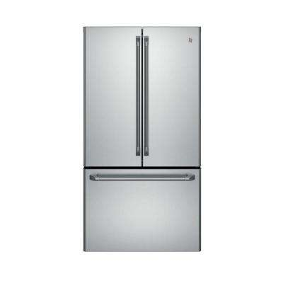 Cafe 36 in. W 23.1 cu. ft. French Door Refrigerator in Stainless Steel, Counter Depth