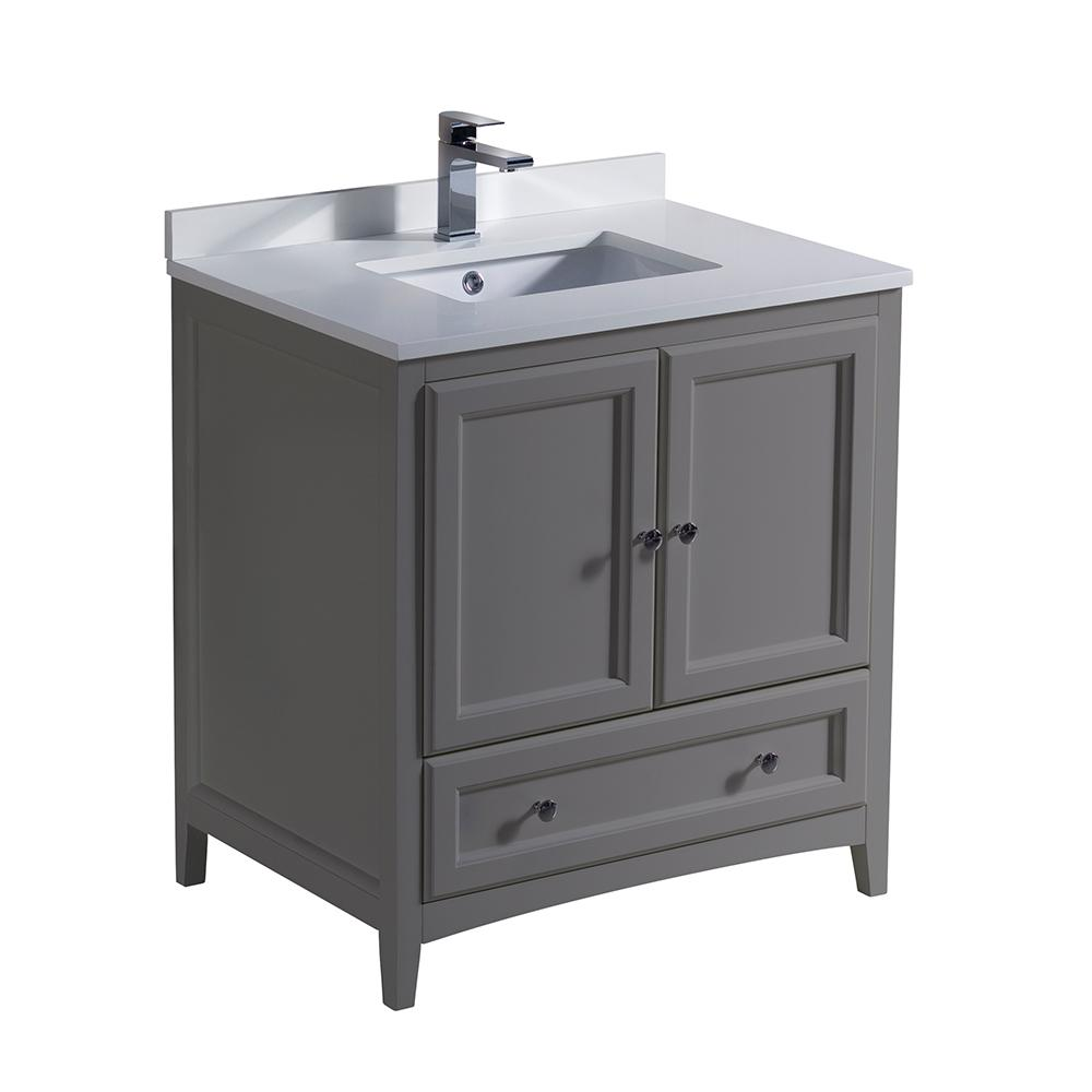 Oxford 30 in. Traditional Bathroom Vanity in Gray with Quartz Stone