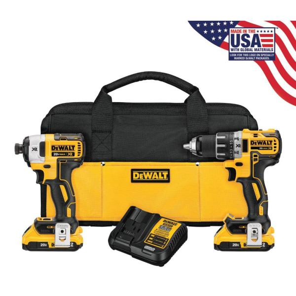20-Volt MAX XR Lithium-Ion Cordless Brushless Drill/Impact Combo Kit (2-Tool) with (2) Batteries 2Ah, Charger and Bag