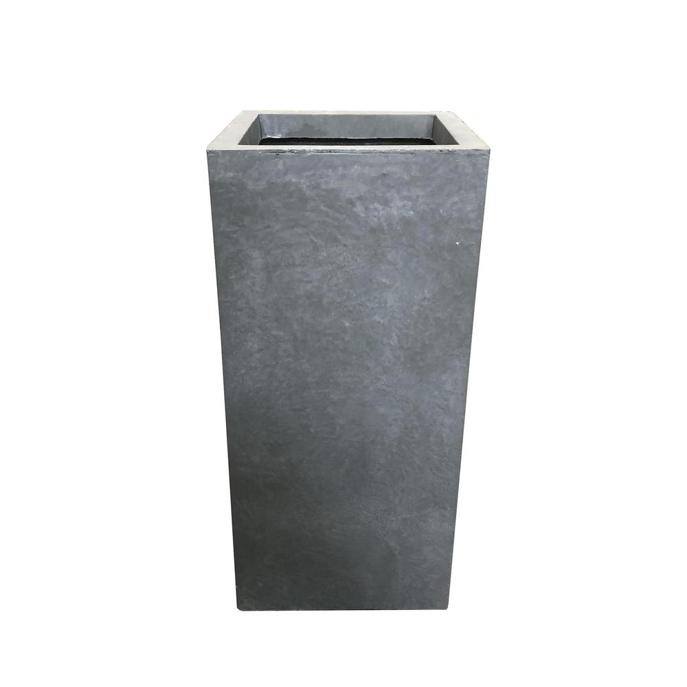 KANTE 28 in. Tall Slate Gray Lightweight Concrete Rectangle Modern Outdoor Planter
