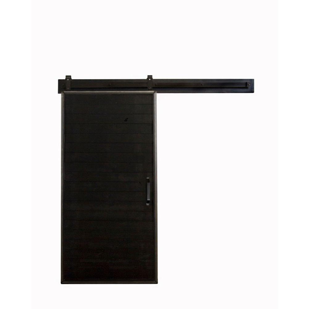 Bon Rustica Hardware 42 In. X 84 In. Mountain Modern Matte Black Wood Barn Door  With Mountain Modern Sliding Door Hardware Kit K1MM3670BE7DF   The Home  Depot