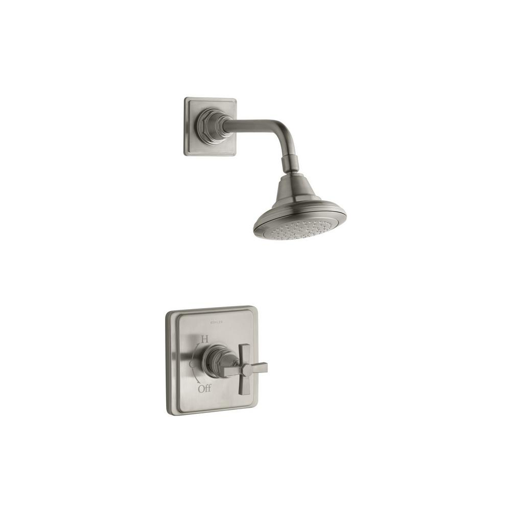Pinstripe 1-Spray 6.6875 in. 2.5 GPM Fixed Shower Head in Vibrant