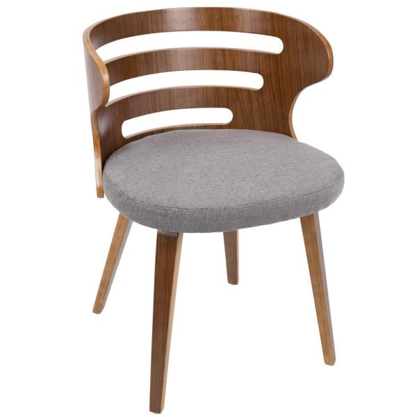 Cosi Grey Fabric Dining/Accent Chair with Walnut