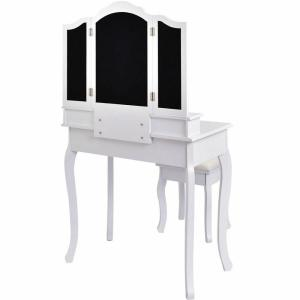 4,Drawer White Vanity Makeup Dressing Table Set W/Stool Mirror Jewelry Wood  Desk