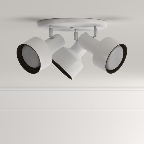 Westinghouse 3 Light Ceiling Fixture White Interior Multi Directional Flush Mount 6632600 The Home Depot