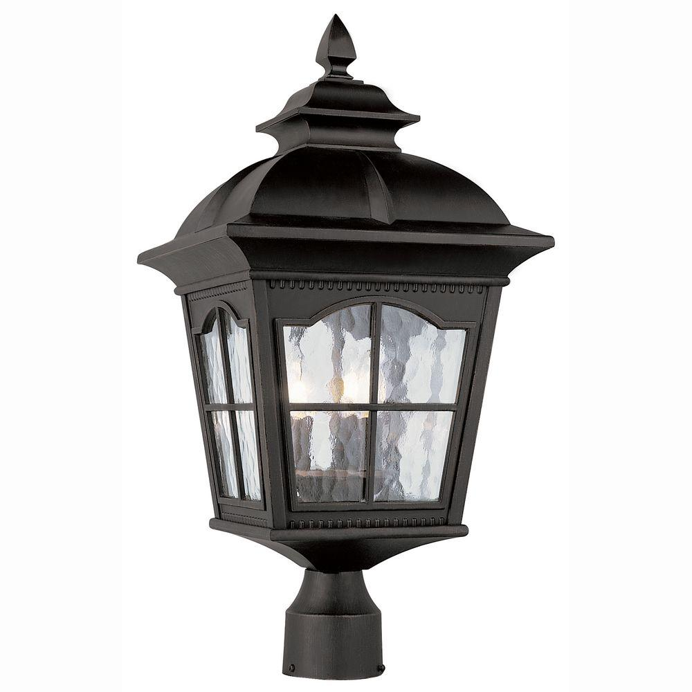 Bostonian 3-Light Outdoor Black Post Top Lantern with Water Glass