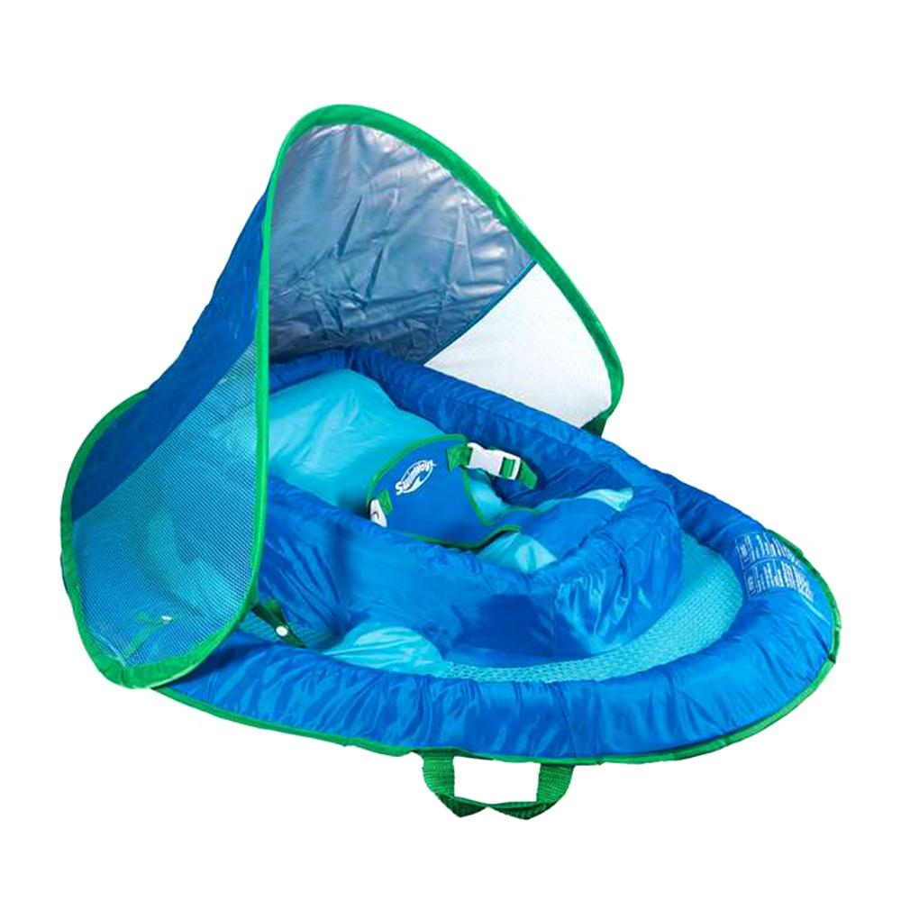 Swimways Blue Inflatable Infant Baby Spring Swimming Pool Float with Canopy