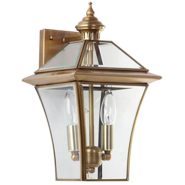 Virginia 8 in. 2-Light Brass Sconce with Clear Shade