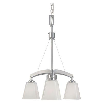 Avanti 3-Light Satin Platinum Chandelier with Fusione Glass Shades