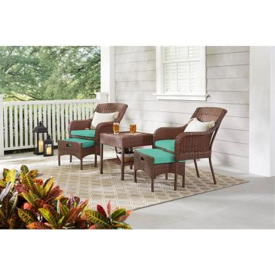 Cambridge 5-Piece Brown Wicker Outdoor Patio Conversation Seating Set with CushionGuard Seaglass Turquoise Cushions